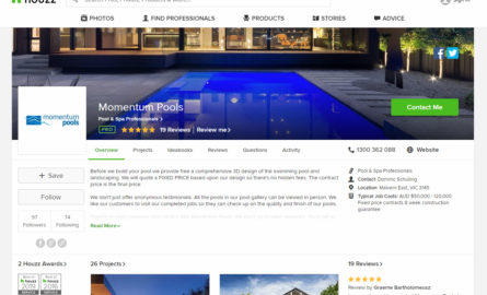 Momentum Pools Houzz page.